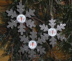 3 Primitive Rusty Tin Handpainted Snowflakes Snowman Christmas Tree Ornaments | eBay