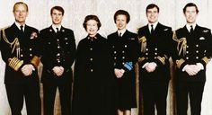 Prince Phillip, Edward, Queen Elizabeth II, Princess Anne, Prince Andrew, & Prince Charles.