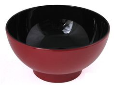 Minimalistic Lacquered Red and Black Japanese Bowl