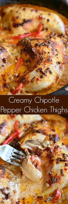 Creamy Chipotle Pepper Chicken Thighs. Juicy, tender chicken thighs cooked in a creamy, spicy chipotle pepper sauce with lots of bell peppers and onion. #chickenthighs #dinnerideas