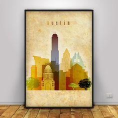 Austin print, Vintage style, Austin Vintage, Wall art, Texas cityscape, Austin…