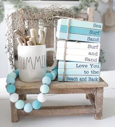 Wooden Books, Painted Books, Rustic Books, Farmhouse Books, Beach Crafts, Summer Crafts, Stack Of Books, Mini Books, Book Crafts