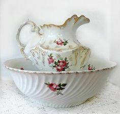 Antique Wash Bowl and Pitcher Set  LARGE by Monamourdecru on Etsy