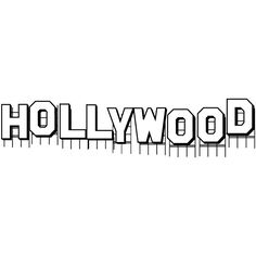Hollywood Sign Art Sketch Template