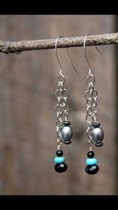 Black and turquoise dangle earrings. Designed by Jessica Lynne. 2015. Luna Rae Originals.   Lunaraeoriginals.etsy.com