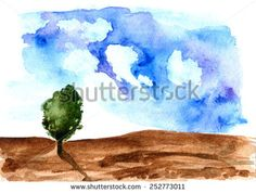 Tree. Hand drawn watercolor painting - stock photo http://submit.shutterstock.com/?ref=1553807