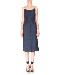 Altuzarra Rope-Strap Button-Down Linen Dress, Navy