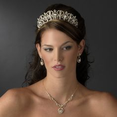 Gold Plated Royal Wedding Tiara and Jewelry Set