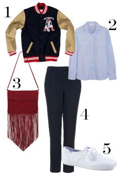 1. 1960 Authentic Wool Jacket Boston Patriots, $575; mitchellandness.com. 2. Frame Denim Le Boyfriend Cotton Shirt, $180; net-a-porter.com. 3. Due West Suede Fringe Bag, $98; nastygal.com. 4. Topshop Stitch Cigarette Trousers, $44; topshop.com. 5. Keds Champion Originals, $45; keds.com.