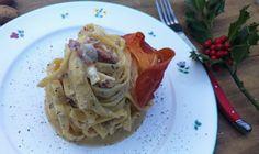 Una fiaba dall'Austria alla Puglia. Le ceramiche GMUNDNER per i tagliolini MAFFEI con noci, crudo croccante e mele al Ratafia di Champagne