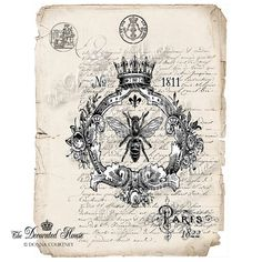 Queen BEE Art Print with Antique French Letter Background. Vintage Style Art Print. 8 x 10 inches. The Decorated House on Etsy