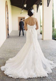 Corset back, simply white bow, long lacy train // Caroline Tran Photography
