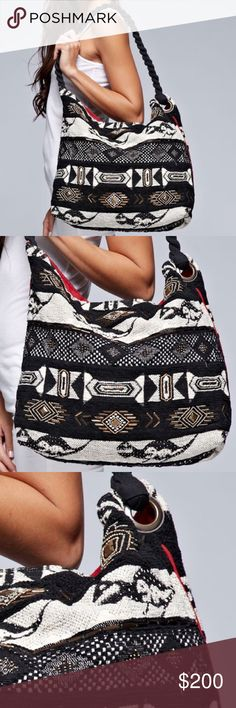 ETHNIC BAG Patterned Patchwork Shoulder Book Tote One Size.  New in packaging.   • Beautiful & versatile, this tapestry hobo bag is made to impress.  • Exterior features an all-over patchwork pattern, black rope handle/strap & snap closure at top.  • Large enough for all your daily necessities.  • Interior is fully lined with 2 slip pockets & 1 zip pocket.  • Cotton, poly.   {Southern Girl Fashion - Closet Policy}   ✔Bundle discount: 20% off 2+ items.   ✔️ Items are priced to sell…