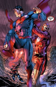Superman being to slow for the flash once again by jim lee