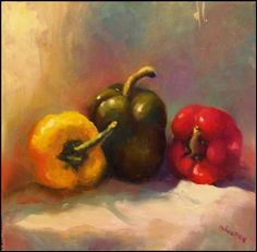 The Three Amigos - 12x12, paintings of peppers, red, green and yellow, painting by artist Maryanne Jacobsen