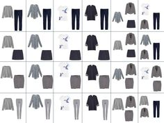 two dozen outfits available with the 12-piece Four by Four wardrobe in navy and grey