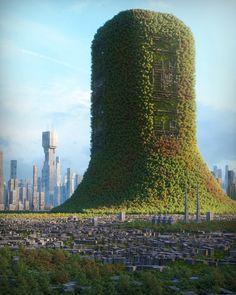 ArtStation - O2 Generator, Inward . City Landscape, Fantasy Landscape, Fantasy Art, New Tomb Raider, 3d Art, R Wallpaper, Futuristic City, Futuristic Architecture, Science Fiction Art