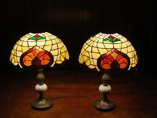 ECORATIVE ARTS TABLE LAMPS 2- 50'S STAINED GLASS SHADES ANTIQUE LAMPS VINTAGE #vintagelamp #vintage #stainedglass #stained Stained Glass Lamp Shades, Table Lamp, Vintage, Arts, Ebay, Home Decor, Table Lamps, Decoration Home, Room Decor