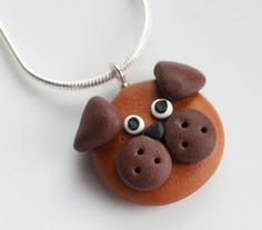 Dog Face Necklace, Polymer Clay, Fimo, Animal, Jewellery, Cute, Miniature £7.00