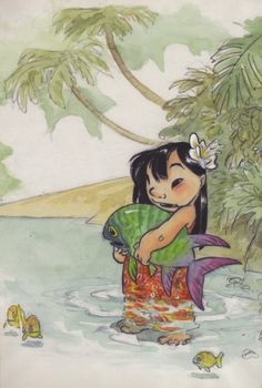 Lilo and Pudge the Fish  Concept art by Chris Sanders Lilo & Stitch: Collected Stories from the Film's Creators