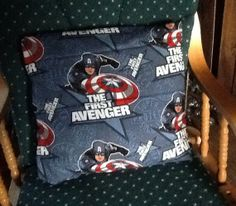 Handmade  captain America throw pillow by MawmaRosesCrafts on Etsy, $15.00