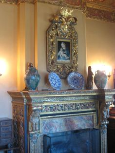 Mantle and items, Hearst Castle California