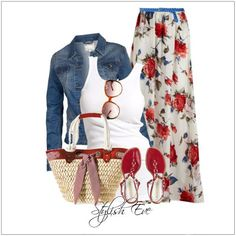 CHATA'S DAILY TIP: We're all going on an autumn holiday! The classic red-white-and-blue gets a chic dress-down with a straw tote, flats and your autumn must-have – a stylish denim jacket. Ensure that your maxi skirt is tapered, and the material soft, to keep the look slim and elegant. COPY CREDIT: Chata Romano Image Consultant, Marlise du Plessis http://chataromano.com/consultant/marlise-duplessis/ IMAGE CREDIT: Stylish Eve