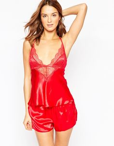 Ann Summers Red Silk & Lace Cami Pajama Gift Set