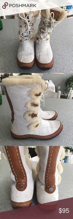 The North Face Winter Boots Waterproof Sz. 9.5 Off White Waterproof Suede and Leather with Sheep Fur Snowboots. Sz. 9.5 gently used only in snow, no stains or marks. The North Face Shoes Winter & Rain Boots
