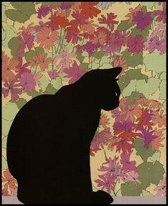 Chat noir Black Cat by Meg Dawson. I Love Cats, Cool Cats, Illustrations, Illustration Art, Noir Ebene, Black Cat Art, Black Cats, Gatos Cat, Cat Quilt