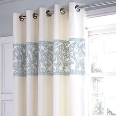 Duck Egg Evie Butterfly Thermal Eyelet Curtains from Dunelm Curtains Dunelm, Net Curtains, Pleated Curtains, Bedroom Curtains, Curtains Living, Ready Made Eyelet Curtains, Blackout Eyelet Curtains, Blue And White Curtains, Blue Curtains