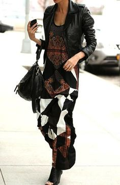 Print maxi dress by Diane Fürstenberg and black leather: jacket, boots, bag. Via Refined Style