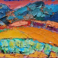 "Pierre AMBROGIANI , huile sur toile, ""Valréas"" ,Circa 1960 , 73 x 54 cm"