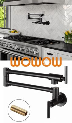 Our oil rubbed bronze kitchen faucet is attractive and durable. The modern design is scratch-resistant and resists grime. It has a 360° double jointed swing spout that's convienient for pot filling. #Wowow #potfillerfaucet Rubbed Bronze Kitchen, Wall Mounted Taps, Pot Filler Kitchen, Brushed Steel Kitchen, Pot Filler Faucet, Kitchen Faucet, Matte Black Kitchen, Pot Filler, Faucet