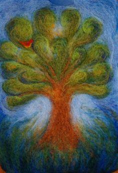 needle felted tree- summer