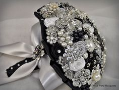 "Our ""Julia"" Brooch Bouquet in black #broochbouquet #wedding #bridal"
