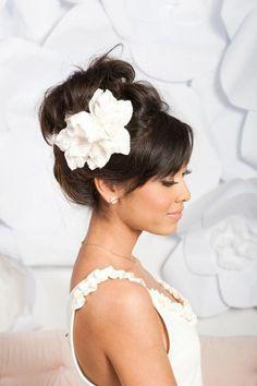 bridal updo velvet flower