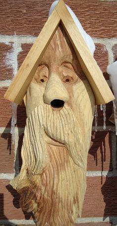 Hand carved Cedar wood birdhouse, wonderful piece of original hand made artwork