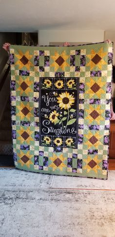 You are my Sunshine panel by Timeless Treasures. Quilting Patterns, Quilting Ideas, Sunflower Quilts, Panel Quilts, You Are My Sunshine, Machine Embroidery, Diy Projects, Blanket, Sewing