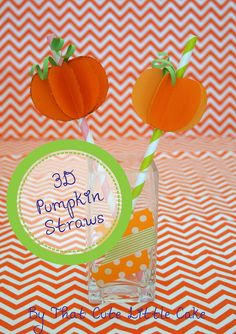 Pumpkin paper straw DIY! #halloweenparty #diy