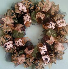 Woodland Wreath Forest Wreath Bear Wreath Lodge by WreathsByRobyn Camo Wreath, Hunting Wreath, Wire Wreath, Deco Mesh Ribbon, Deco Mesh Wreaths, Door Wreaths, Burlap Wreaths, How To Make Wreaths, Crafts To Sell