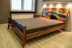 Resin Furniture, Bed Furniture, Furniture Design, Wood Resin Table, Epoxy Resin Wood, Cama Queen Size, Queen Size Bedding, Design Living Room, Wood Headboard