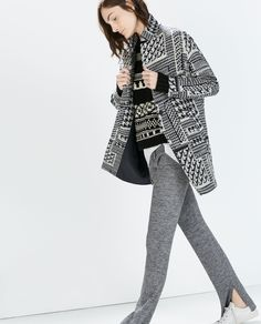 Image 1 of HOUNDSTOOTH WOOL COAT from Zara