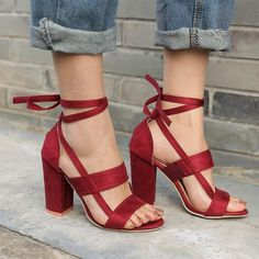 98b50f77aea Women Shoes Thick High Heeled Suede Straps Party Club Sandals 6 Colors Heel  Size  8