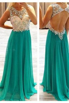 Backless Beading Scoop Long Chiffon Prom Dress-A-line Sleeveless Blue Prom Dress CHPD-31007