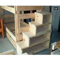 Love the stairs going up, good storage and likely safer than a ladder--( WJZ-B55 ) solid pine wood queen size bunk beds Guest room perfect! Description from pinterest.com. I searched for this on bing.com/images