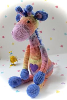 Iris the Baby Giraffe. Crochet Amigurumi by FuzzpotLaneDesigns