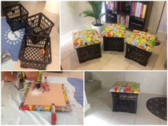 DIY Storage Ottoman Ideas from Recycle Crates and Pallets - Diy Craft Ideas & Gardening Milk Crate Seats, Crate Stools, Crate Ottoman, Diy Storage Ottoman, Diy Ottoman, Crate Storage, Toy Storage, Storage Ideas, Ottoman Ideas