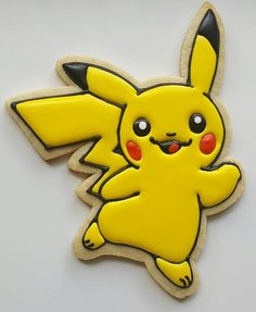 Pokemon GO is the latest craze.so these Pikachu cookies would be a great party favor or a delicious addition to your party's dessert table! Pokemon Go, Pikachu Pikachu, Sawyer Pokemon, Pikachu Cake, Pokemon Party, Fancy Cookies, Cut Out Cookies, Cupcake Cookies, Birthday Cookies