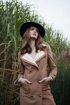 Ekskluzywne sukienki - Lily Was Here by Liliana Kupidura Cashmere Coat, Double Breasted, Camel, Lily, Hat, Wool, Elegant, Classic, Beautiful